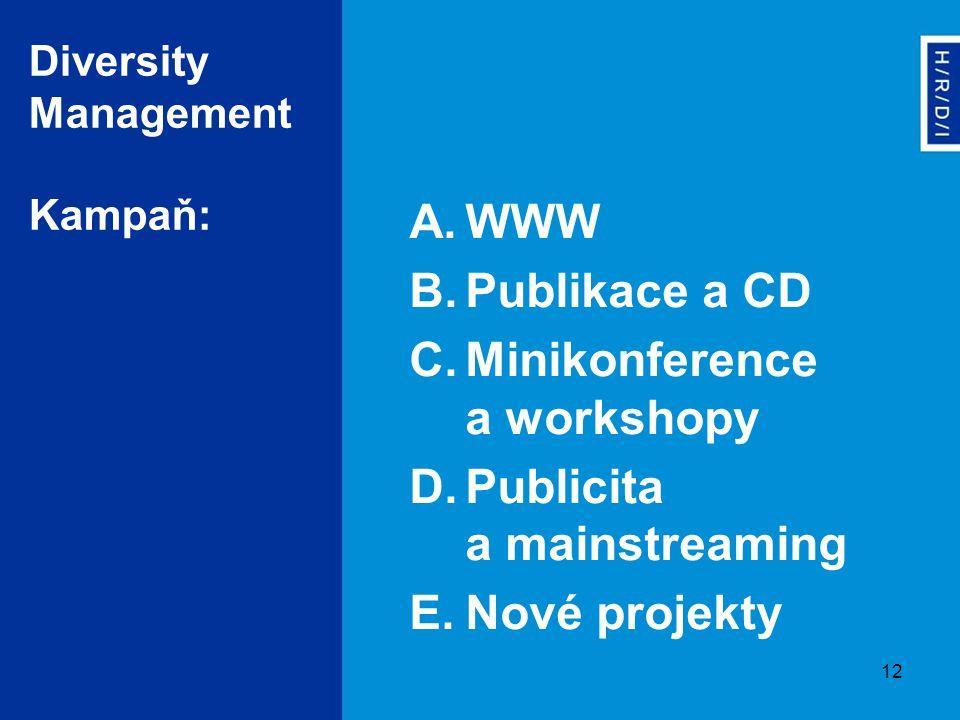 12 Diversity Management Kampaň: A.WWW B.Publikace a CD C.Minikonference a workshopy D.Publicita a mainstreaming E.Nové projekty