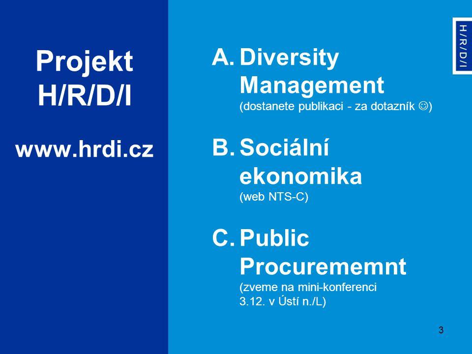 3 A.Diversity Management (dostanete publikaci - za dotazník ) B.Sociální ekonomika (web NTS-C) C.Public Procurememnt (zveme na mini-konferenci 3.12. v