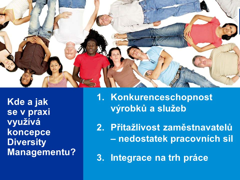 5 1.Konkurenceschopnost výrobků a služeb 2.Přitažlivost zaměstnavatelů – nedostatek pracovních sil 3.Integrace na trh práce Kde a jak se v praxi využívá koncepce Diversity Managementu