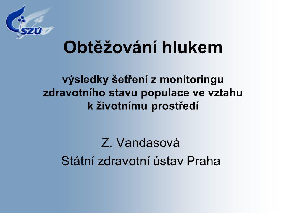 Obtěžování hlukem výsledky šetření z monitoringu zdravotního stavu populace ve vztahu k životnímu prostředí Z. Vandasová Státní zdravotní ústav Praha