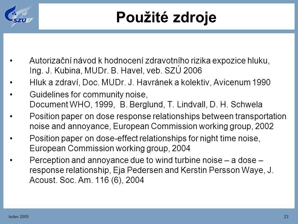 leden 200923 Použité zdroje Autorizační návod k hodnocení zdravotního rizika expozice hluku, Ing. J. Kubina, MUDr. B. Havel, veb. SZÚ 2006 Hluk a zdra