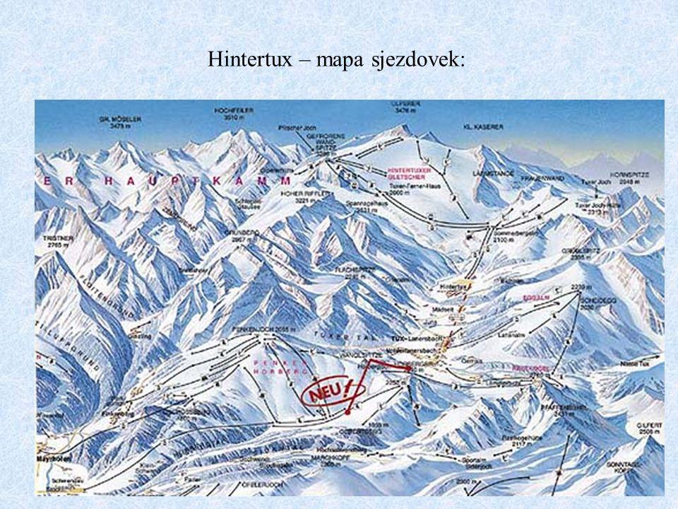 Hintertux – mapa sjezdovek: