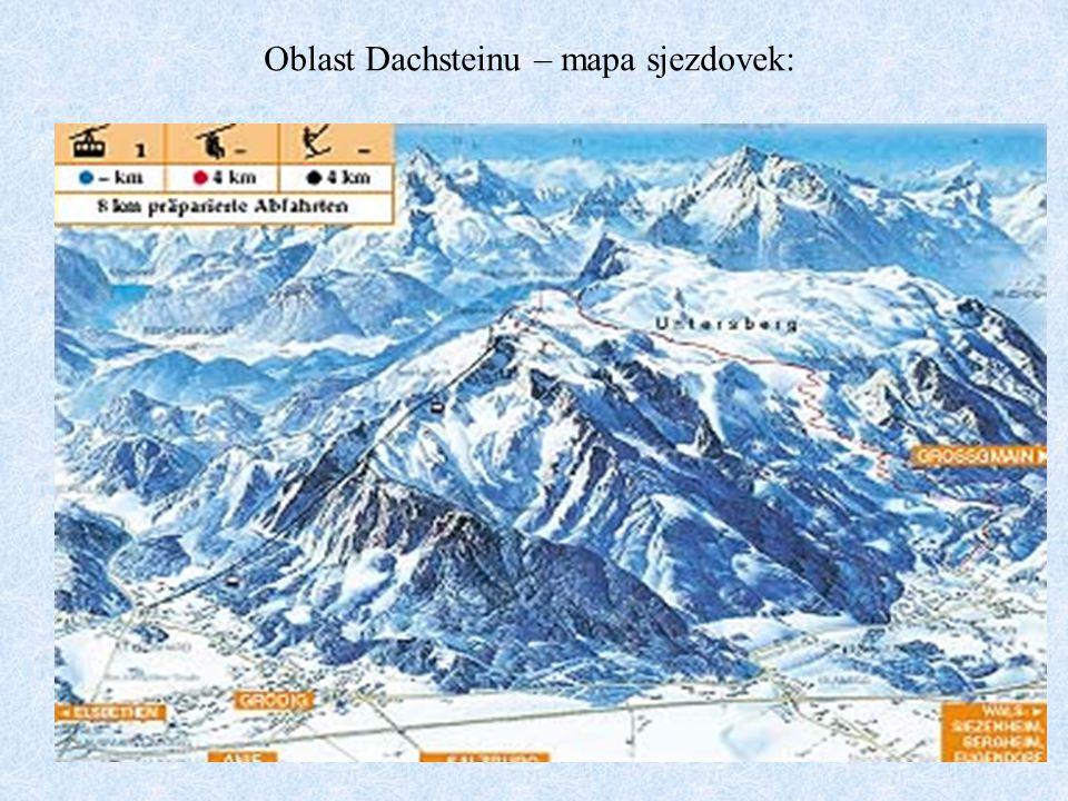 Oblast Dachsteinu – mapa sjezdovek: