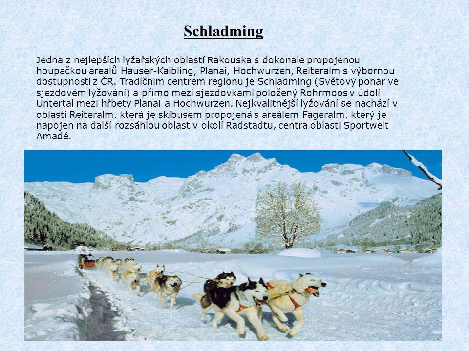 Jedna z nejlepších lyžařských oblastí Rakouska s dokonale propojenou houpačkou areálů Hauser-Kaibling, Planai, Hochwurzen, Reiteralm s výbornou dostup