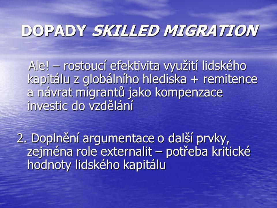Ale! – rostoucí efektivita využití lidského kapitálu z globálního hlediska + remitence a návrat migrantů jako kompenzace investic do vzdělání Ale! – r