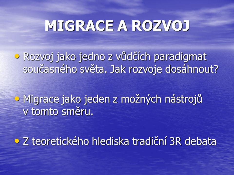 MIGRACE A ROZVOJ Rozvoj jako jedno z vůdčích paradigmat současného světa.