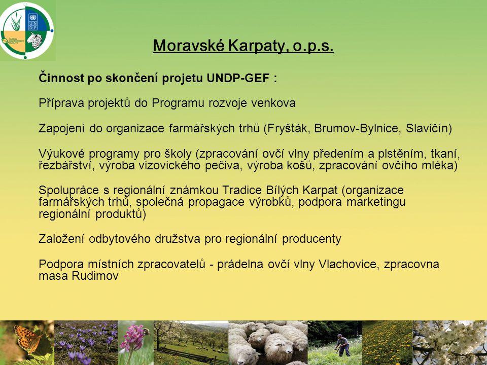 Moravské Karpaty, o.p.s. Činnost po skončení projetu UNDP-GEF : Příprava projektů do Programu rozvoje venkova Zapojení do organizace farmářských trhů
