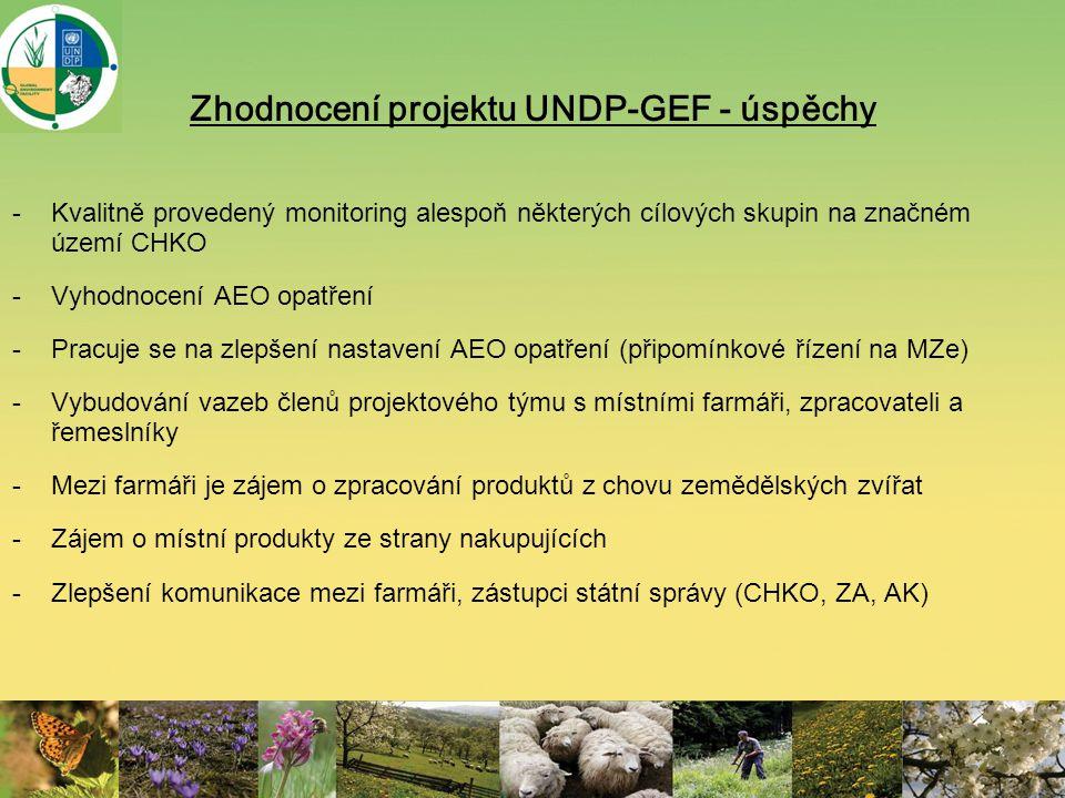 Zhodnocení projektu UNDP-GEF - úspěchy -Kvalitně provedený monitoring alespoň některých cílových skupin na značném území CHKO -Vyhodnocení AEO opatřen