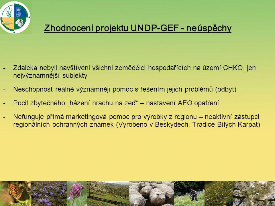 Zhodnocení projektu UNDP-GEF - neúspěchy -Zdaleka nebyli navštíveni všichni zemědělci hospodařících na území CHKO, jen nejvýznamnější subjekty -Nescho