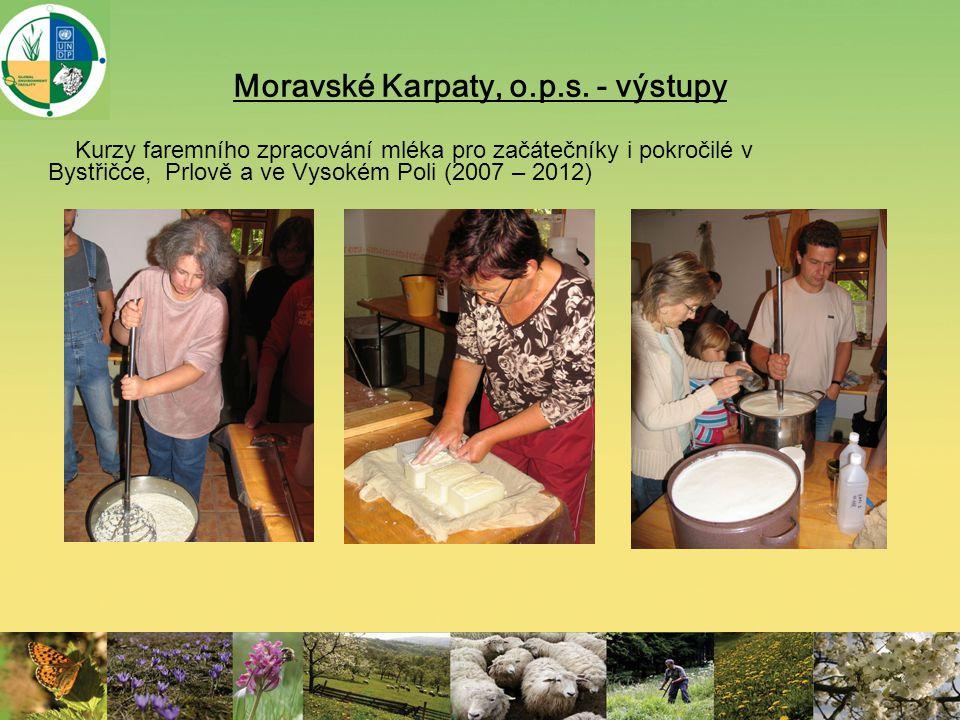 Moravské Karpaty, o.p.s. - výstupy Kurzy faremního zpracování mléka pro začátečníky i pokročilé v Bystřičce, Prlově a ve Vysokém Poli (2007 – 2012)