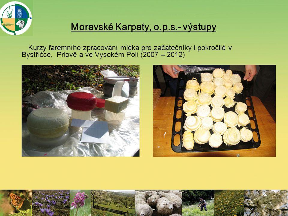 Moravské Karpaty, o.p.s.- výstupy Kurzy faremního zpracování mléka pro začátečníky i pokročilé v Bystřičce, Prlově a ve Vysokém Poli (2007 – 2012)