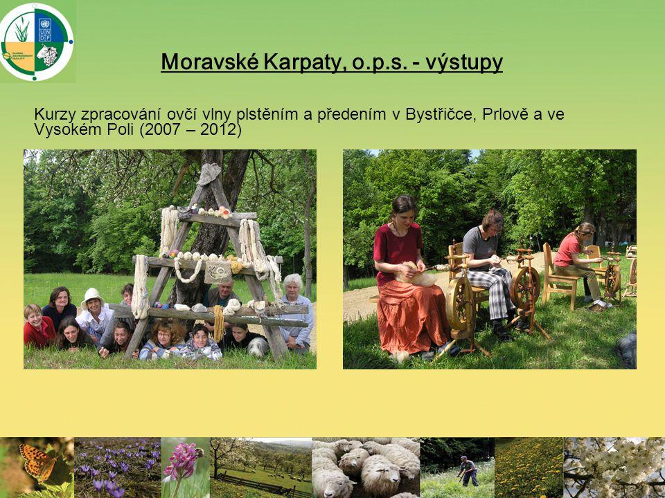 Moravské Karpaty, o.p.s. - výstupy Kurzy zpracování ovčí vlny plstěním a předením v Bystřičce, Prlově a ve Vysokém Poli (2007 – 2012)