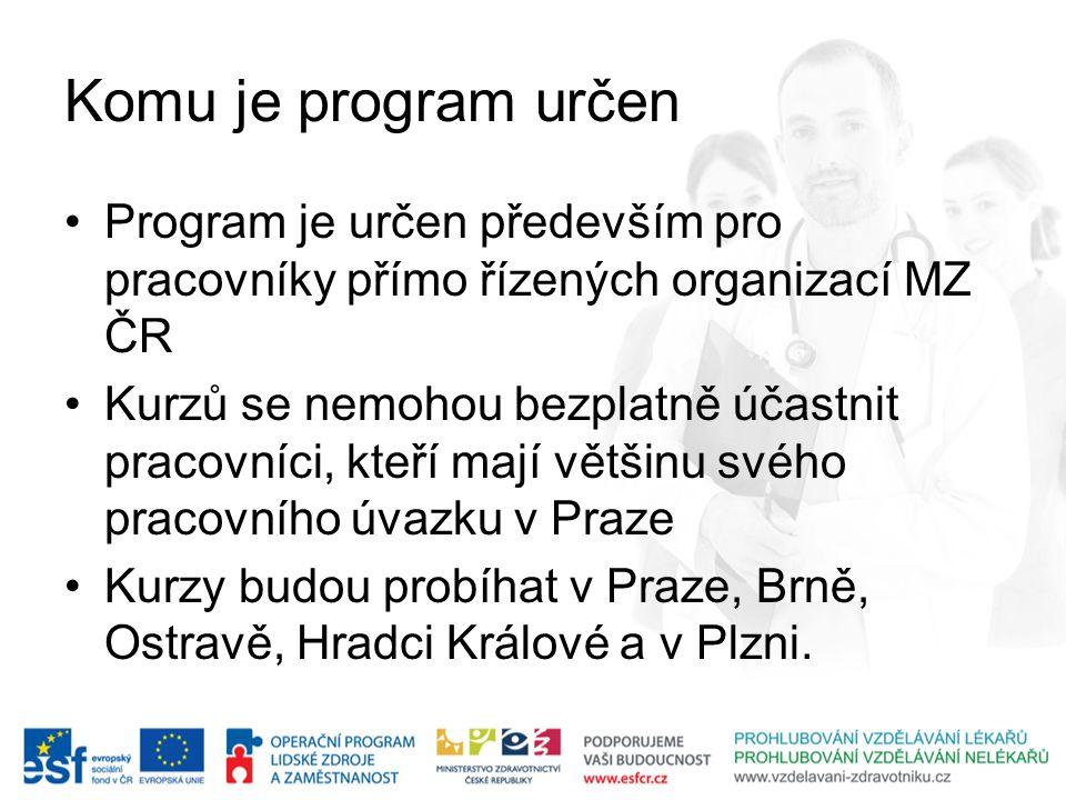 Komu je program určen Program je určen především pro pracovníky přímo řízených organizací MZ ČR Kurzů se nemohou bezplatně účastnit pracovníci, kteří