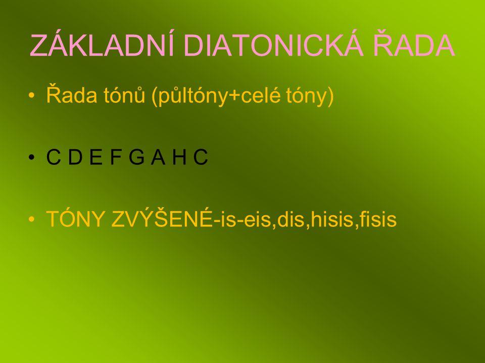 ZÁKLADNÍ DIATONICKÁ ŘADA Řada tónů (půltóny+celé tóny) C D E F G A H C TÓNY ZVÝŠENÉ-is-eis,dis,hisis,fisis