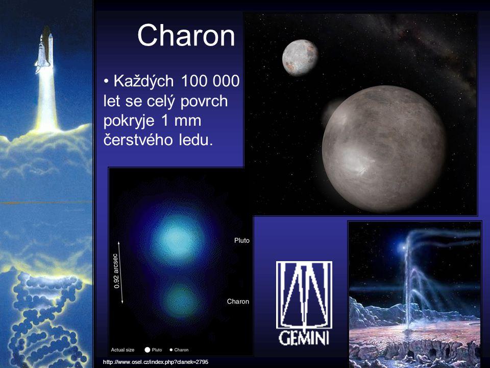 Charon Každých 100 000 let se celý povrch pokryje 1 mm čerstvého ledu. http://www.osel.cz/index.php?clanek=2795