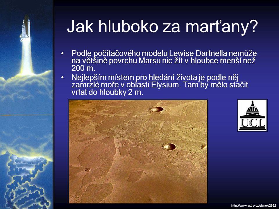 Jak hluboko za marťany? Podle počítačového modelu Lewise Dartnella nemůže na většině povrchu Marsu nic žít v hloubce menší než 200 m. Nejlepším místem