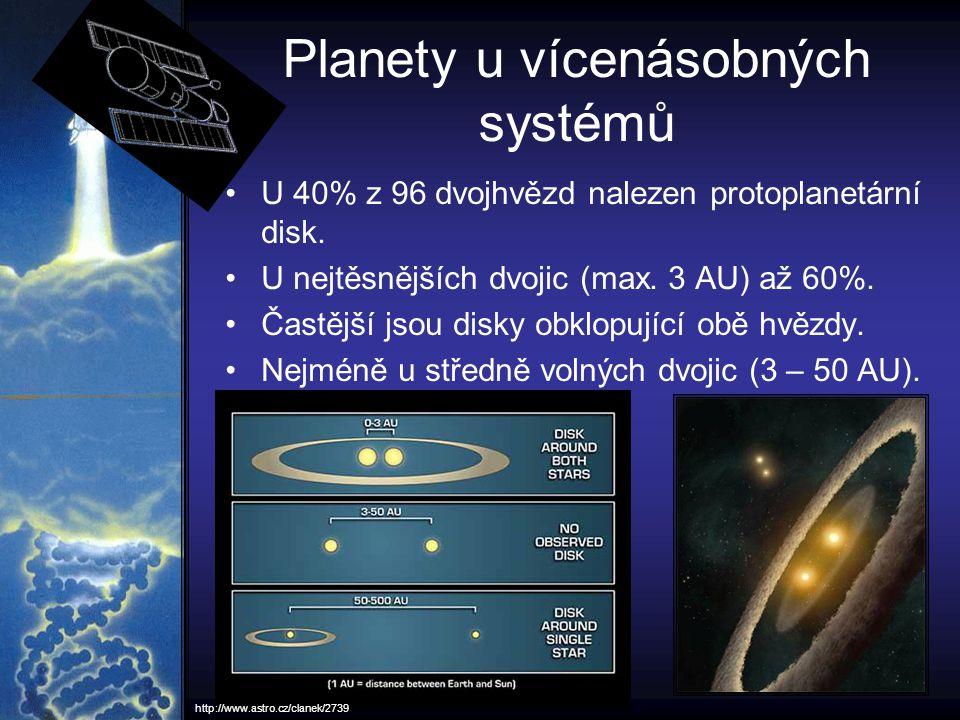 Planety u vícenásobných systémů U 40% z 96 dvojhvězd nalezen protoplanetární disk. U nejtěsnějších dvojic (max. 3 AU) až 60%. Častější jsou disky obkl
