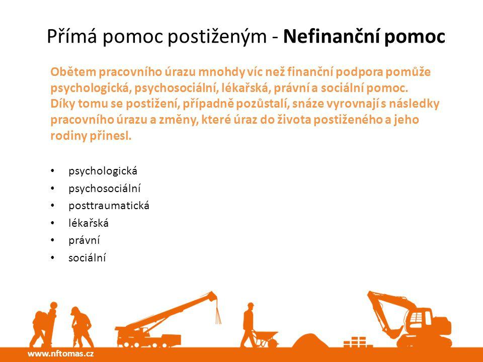 Přímá pomoc postiženým - Nefinanční pomoc Obětem pracovního úrazu mnohdy víc než finanční podpora pomůže psychologická, psychosociální, lékařská, právní a sociální pomoc.