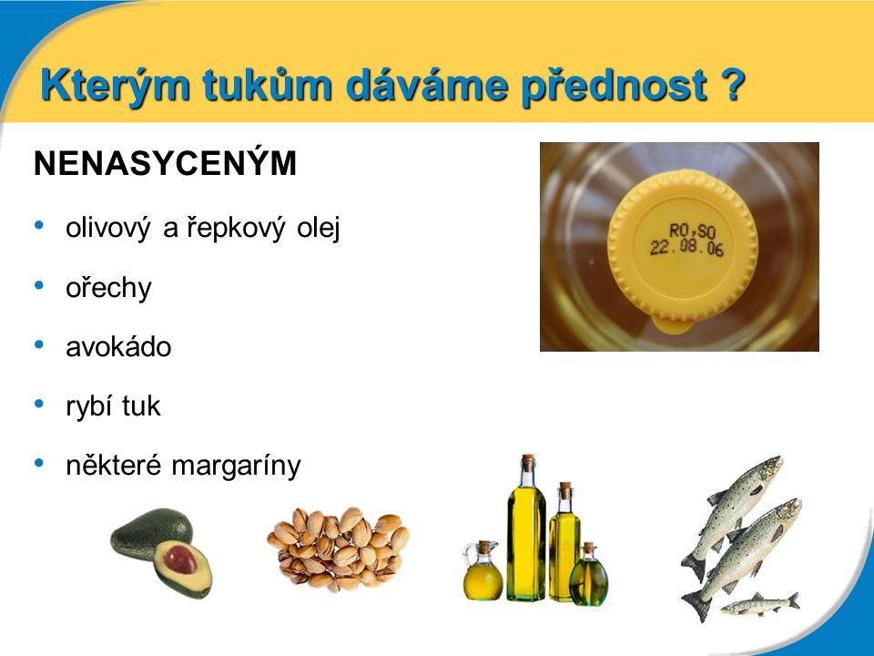 Kterým tukům dáváme přednost ? NENASYCENÝM olivový a řepkový olej ořechy avokádo rybí tuk některé margaríny