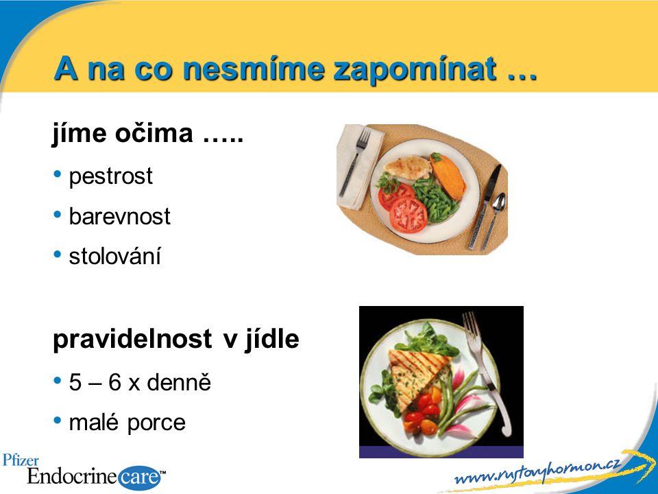 A na co nesmíme zapomínat … jíme očima ….. pestrost barevnost stolování pravidelnost v jídle 5 – 6 x denně malé porce