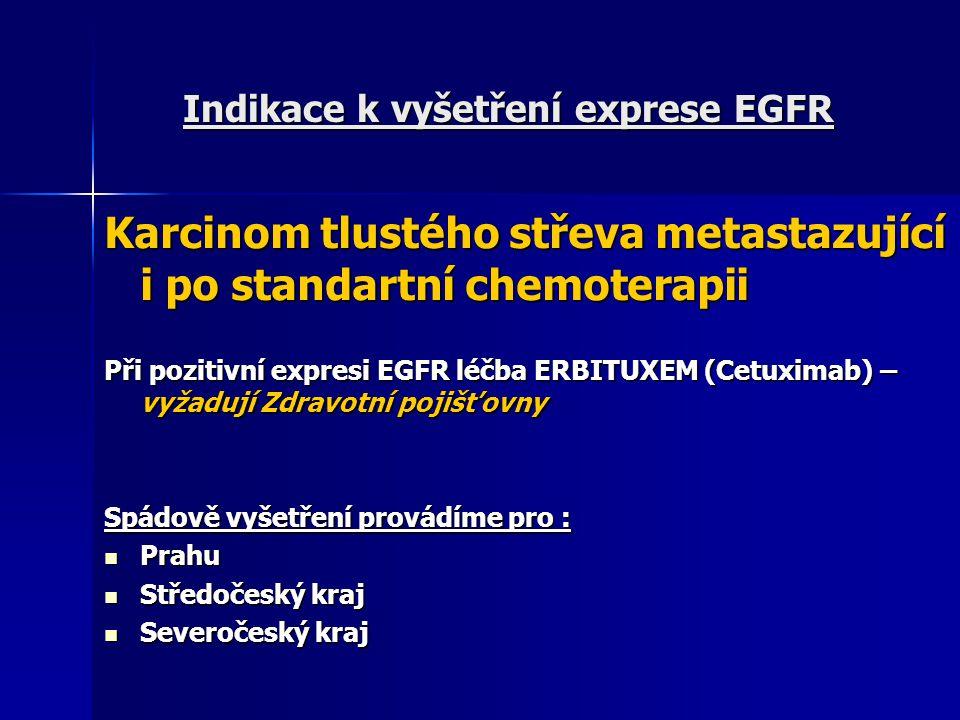 Indikace k vyšetření exprese EGFR Karcinom tlustého střeva metastazující i po standartní chemoterapii Při pozitivní expresi EGFR léčba ERBITUXEM (Cetu