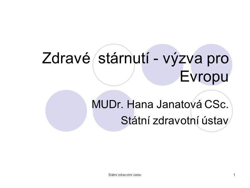 Státní zdravotní ústav1 Zdravé stárnutí - výzva pro Evropu MUDr. Hana Janatová CSc. Státní zdravotní ústav