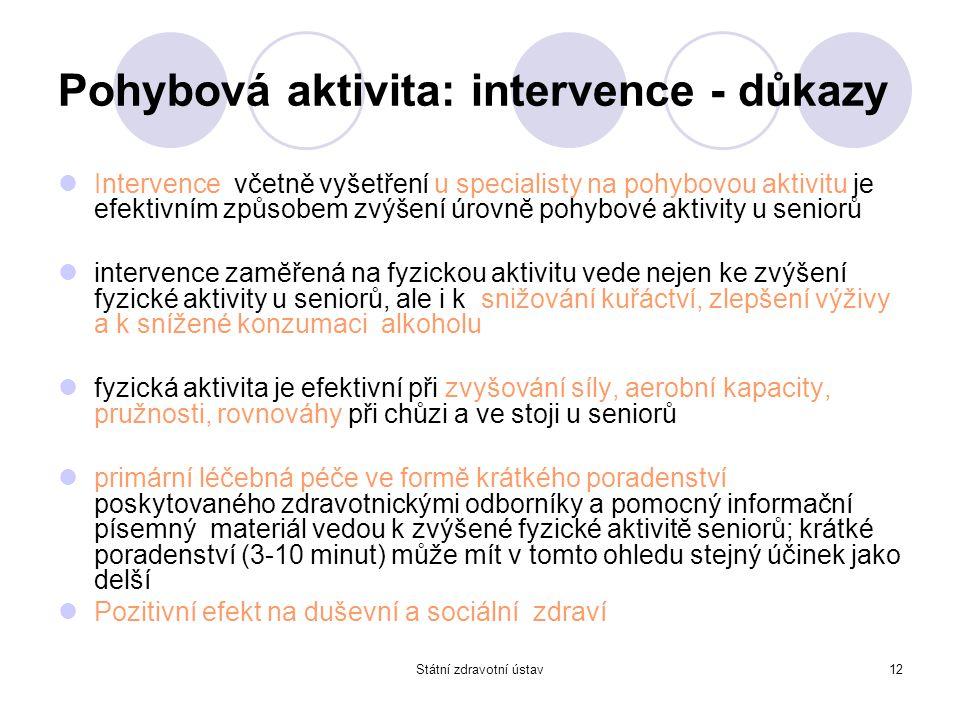 Státní zdravotní ústav12 Pohybová aktivita: intervence - důkazy Intervence včetně vyšetření u specialisty na pohybovou aktivitu je efektivním způsobem