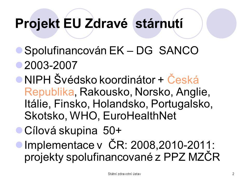 2 Projekt EU Zdravé stárnutí Spolufinancován EK – DG SANCO 2003-2007 NIPH Švédsko koordinátor + Česká Republika, Rakousko, Norsko, Anglie, Itálie, Fin
