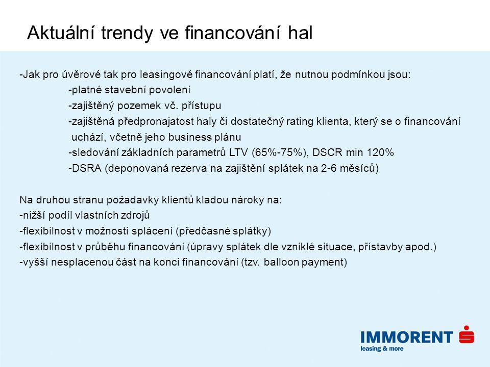 Aktuální trendy ve financování hal -Jak pro úvěrové tak pro leasingové financování platí, že nutnou podmínkou jsou: -platné stavební povolení -zajištěný pozemek vč.