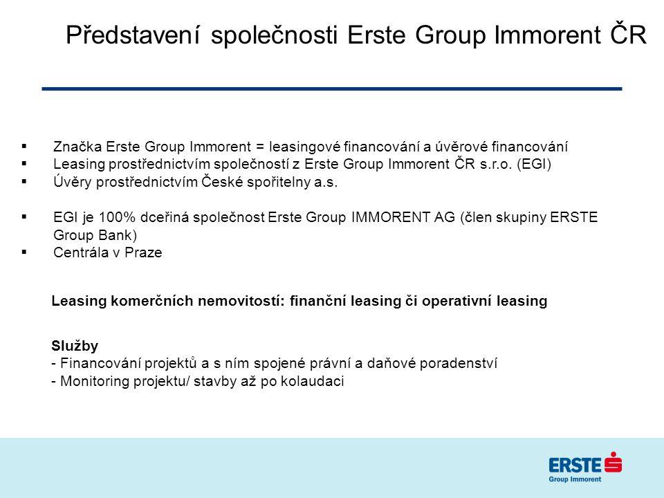 Představení společnosti Erste Group Immorent ČR  Značka Erste Group Immorent = leasingové financování a úvěrové financování  Leasing prostřednictvím společností z Erste Group Immorent ČR s.r.o.