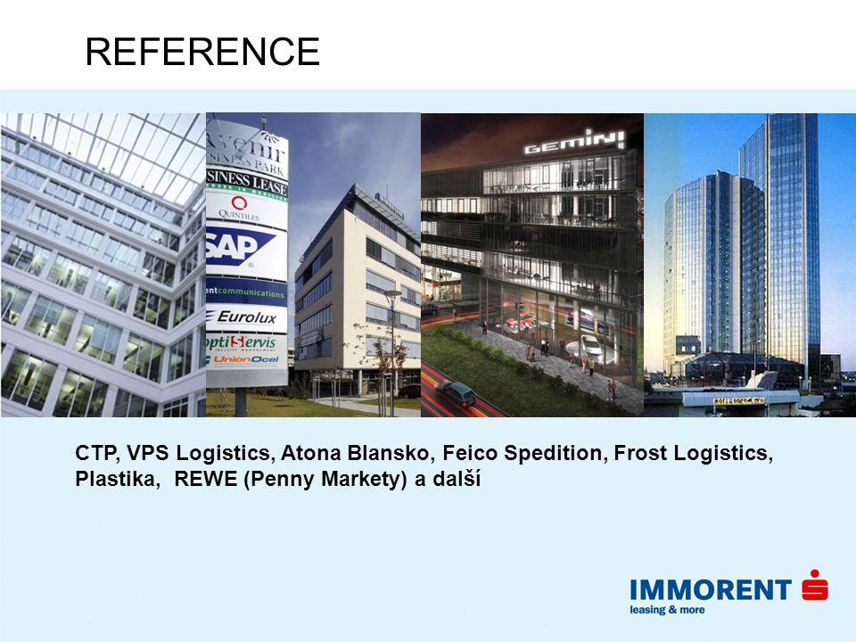 REFERENCE CTP, VPS Logistics, Atona Blansko, Feico Spedition, Frost Logistics, Plastika, REWE (Penny Markety) a další