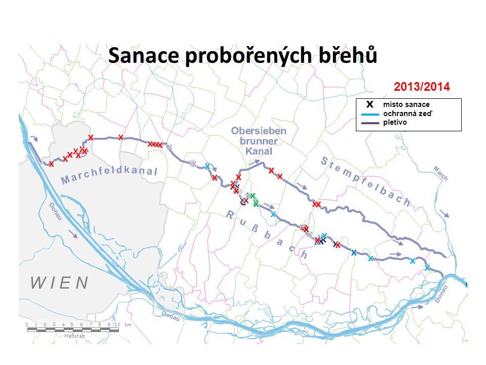W I E N Maßstab 1 2 3 4 5 6 789 10 0 km 2013/2014 místo sanace ochranná zeď pletivo Sanace probořených břehů