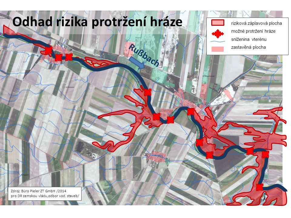 Zdroj: Büro Pieler ZT GmbH /2014 pro DR zemskou vládu,odbor vod. staveb/ Rußbach Odhad rizika protržení hráze riziková záplavová plocha možné protržen
