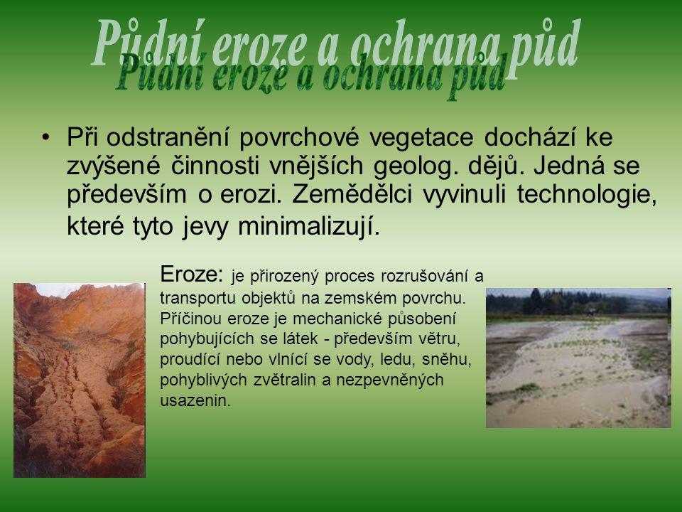 Při odstranění povrchové vegetace dochází ke zvýšené činnosti vnějších geolog.