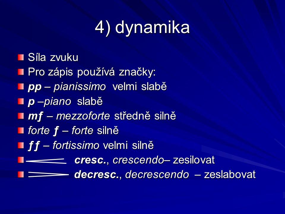 4) dynamika Síla zvuku Pro zápis používá značky: pp – pianissimo velmi slabě p –piano slabě mƒ – mezzoforte středně silně forte ƒ – forte silně ƒƒ – f