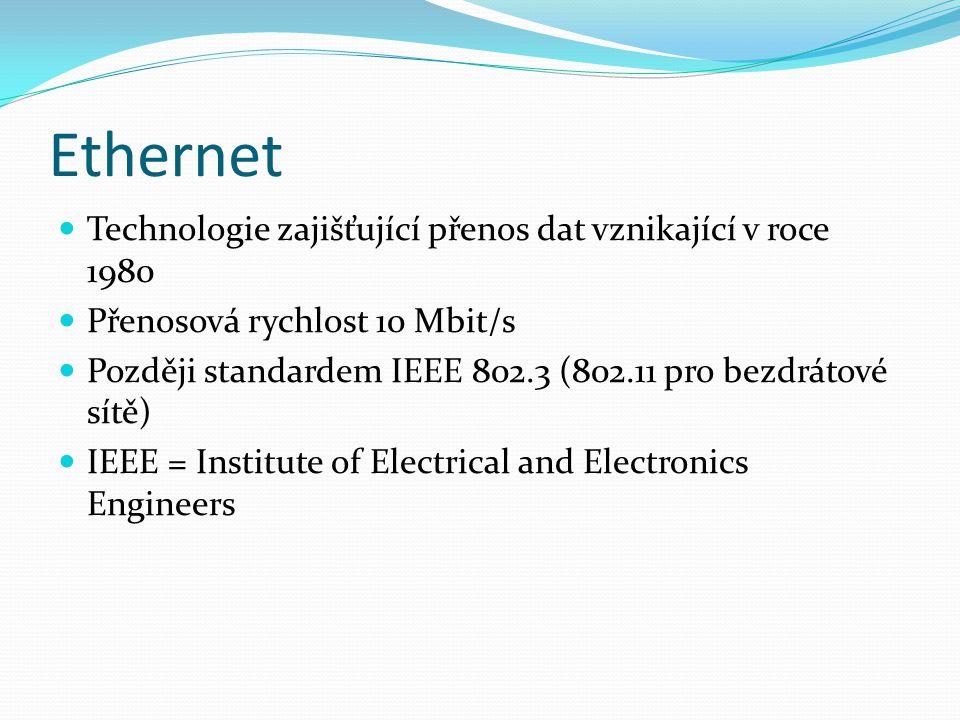 Ethernet Technologie zajišťující přenos dat vznikající v roce 1980 Přenosová rychlost 10 Mbit/s Později standardem IEEE 802.3 (802.11 pro bezdrátové s