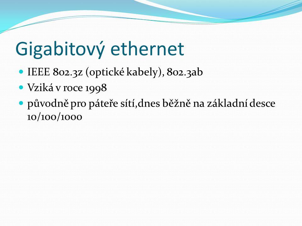 Gigabitový ethernet IEEE 802.3z (optické kabely), 802.3ab Vziká v roce 1998 původně pro páteře sítí,dnes běžně na základní desce 10/100/1000