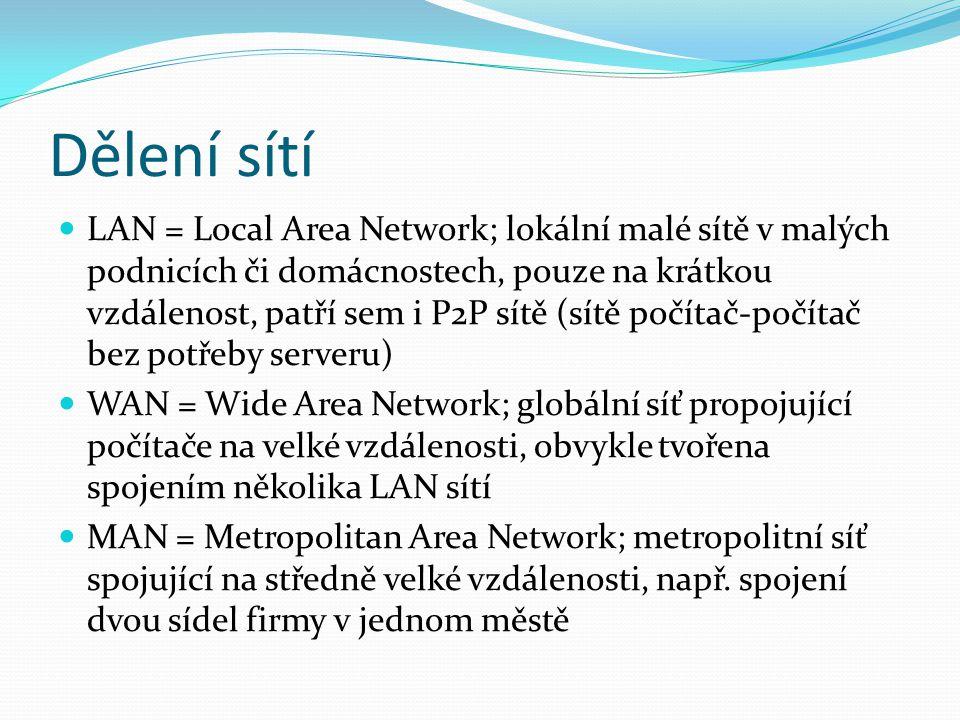Dělení sítí LAN = Local Area Network; lokální malé sítě v malých podnicích či domácnostech, pouze na krátkou vzdálenost, patří sem i P2P sítě (sítě po