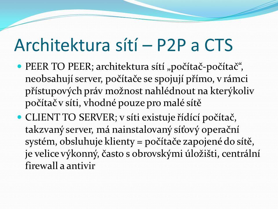 """Architektura sítí – P2P a CTS PEER TO PEER; architektura sítí """"počítač-počítač"""", neobsahují server, počítače se spojují přímo, v rámci přístupových pr"""