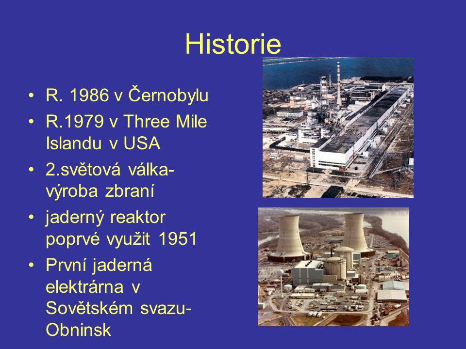 Historie R. 1986 v Černobylu R.1979 v Three Mile Islandu v USA 2.světová válka- výroba zbraní jaderný reaktor poprvé využit 1951 První jaderná elektrá