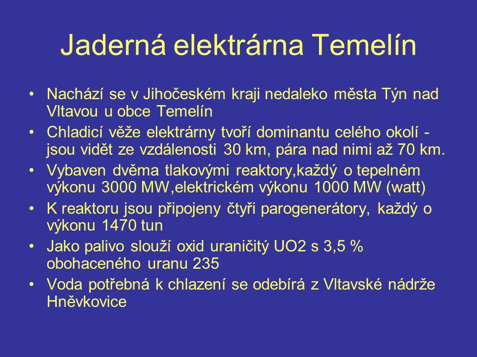 Jaderná elektrárna Temelín Nachází se v Jihočeském kraji nedaleko města Týn nad Vltavou u obce Temelín Chladicí věže elektrárny tvoří dominantu celého okolí - jsou vidět ze vzdálenosti 30 km, pára nad nimi až 70 km.