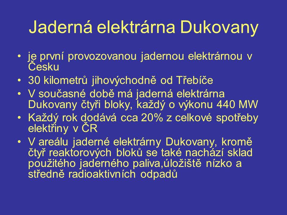 Jaderná elektrárna Dukovany je první provozovanou jadernou elektrárnou v Česku 30 kilometrů jihovýchodně od Třebíče V současné době má jaderná elektrárna Dukovany čtyři bloky, každý o výkonu 440 MW Každý rok dodává cca 20% z celkové spotřeby elektřiny v ČR V areálu jaderné elektrárny Dukovany, kromě čtyř reaktorových bloků se také nachází sklad použitého jaderného paliva,úložiště nízko a středně radioaktivních odpadů