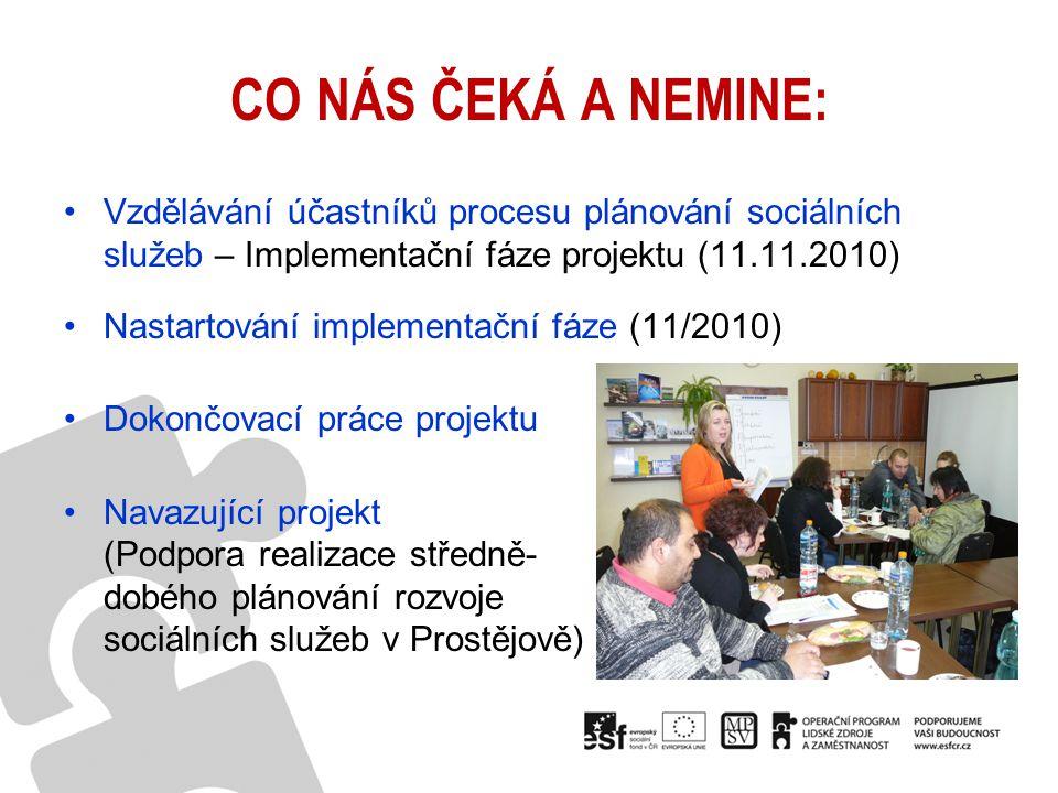 CO NÁS ČEKÁ A NEMINE: Vzdělávání účastníků procesu plánování sociálních služeb – Implementační fáze projektu (11.11.2010) Nastartování implementační f