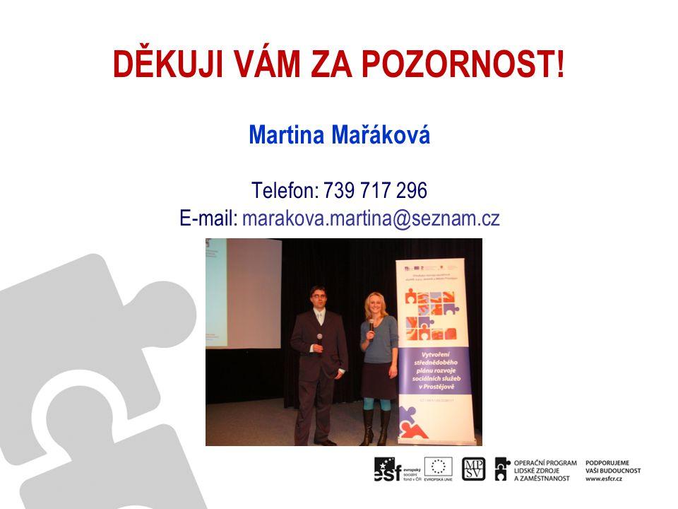 DĚKUJI VÁM ZA POZORNOST! Martina Mařáková Telefon: 739 717 296 E-mail: marakova.martina@seznam.cz