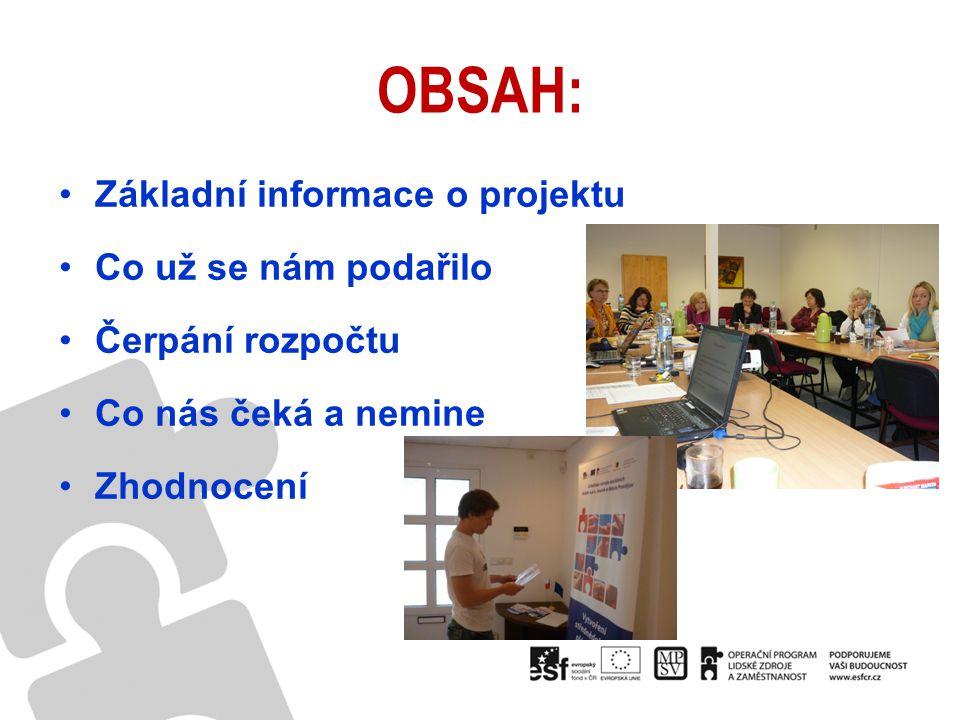 OBSAH: Základní informace o projektu Co už se nám podařilo Čerpání rozpočtu Co nás čeká a nemine Zhodnocení