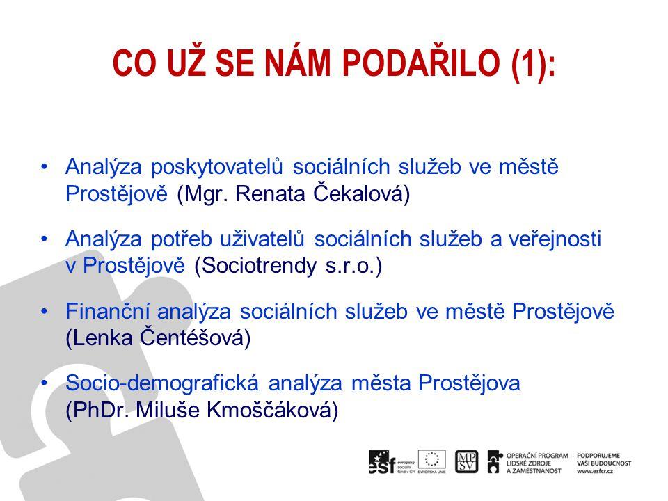 CO UŽ SE NÁM PODAŘILO (2): Realizace veřejných setkání (19.11.2009, 6.5.2010, 22.5.2010 a 7.10.2010) Úvodní odborná konference KPSS (3.12.2009) Vzdělávání účastníků procesu plánování soc.