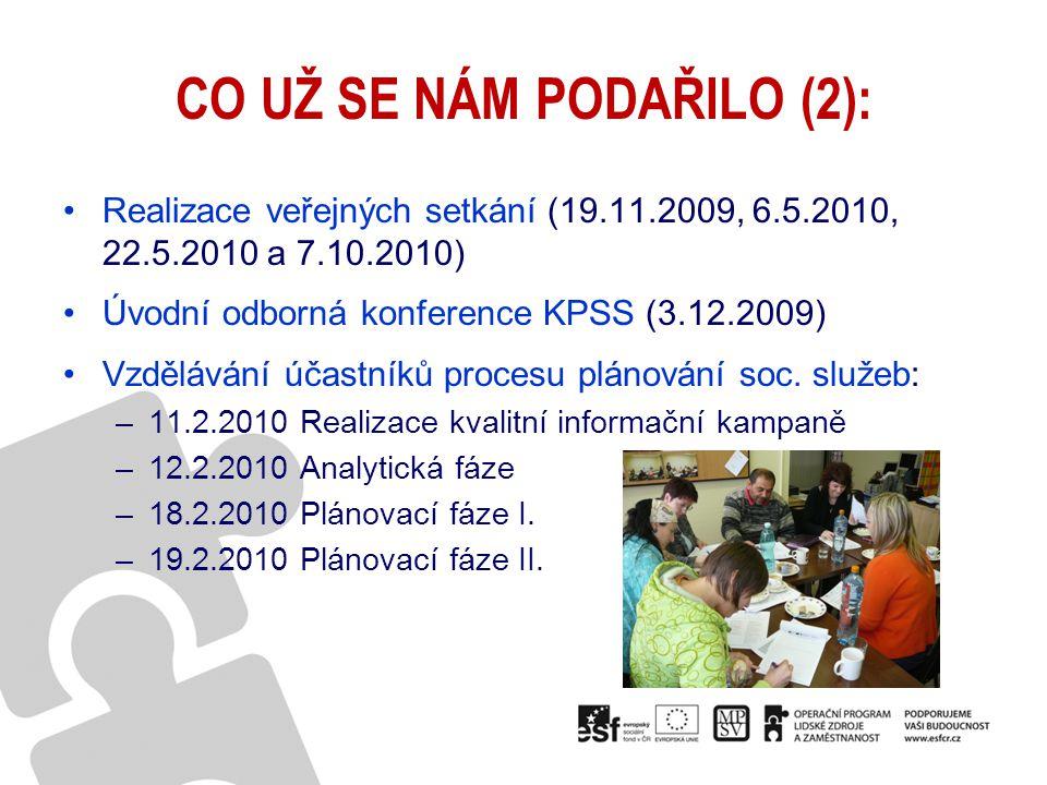 CO UŽ SE NÁM PODAŘILO (2): Realizace veřejných setkání (19.11.2009, 6.5.2010, 22.5.2010 a 7.10.2010) Úvodní odborná konference KPSS (3.12.2009) Vzdělá