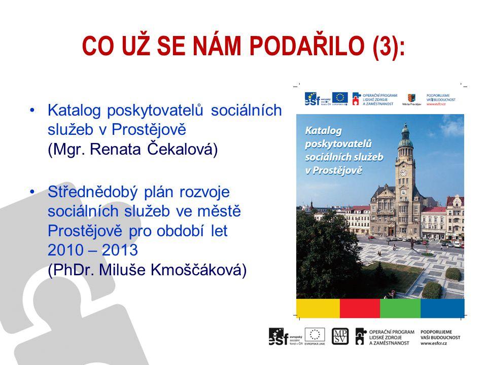 CO UŽ SE NÁM PODAŘILO (3): Katalog poskytovatelů sociálních služeb v Prostějově (Mgr. Renata Čekalová) Střednědobý plán rozvoje sociálních služeb ve m