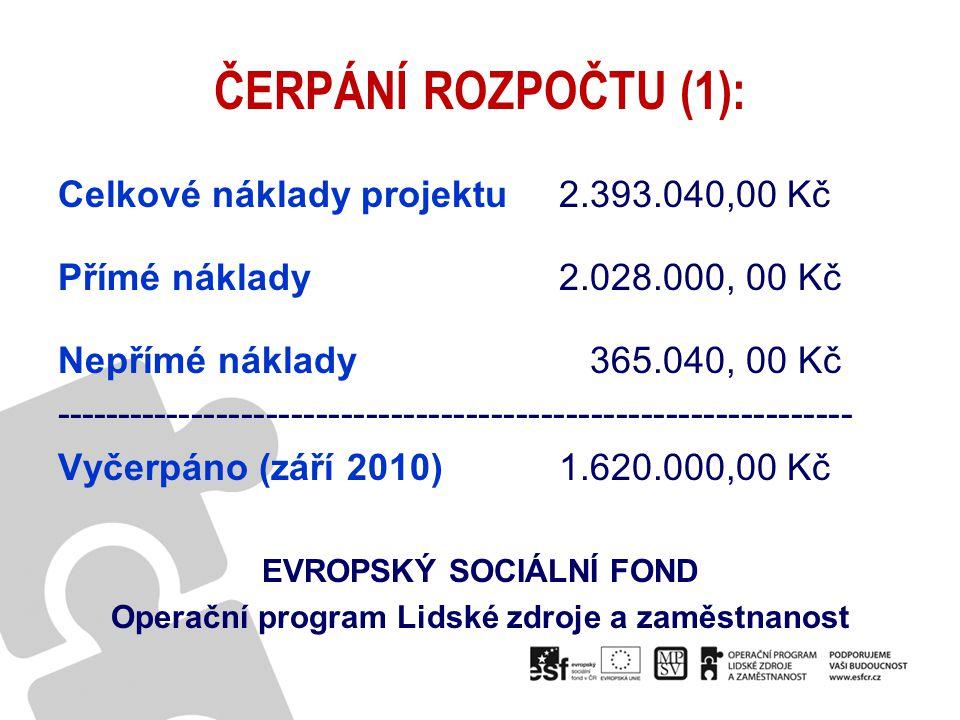 ČERPÁNÍ ROZPOČTU (1): Celkové náklady projektu 2.393.040,00 Kč Přímé náklady 2.028.000, 00 Kč Nepřímé náklady 365.040, 00 Kč -------------------------