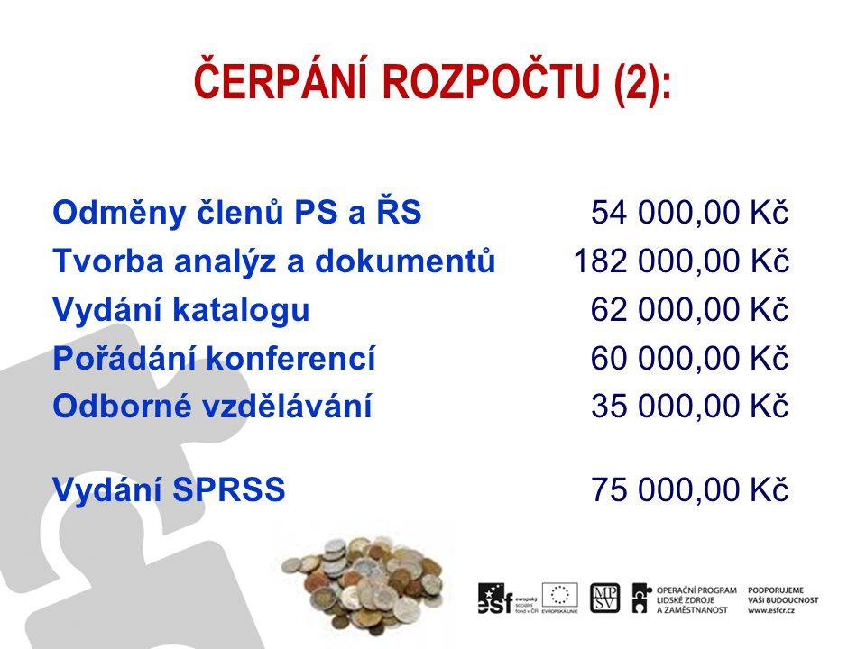 ČERPÁNÍ ROZPOČTU (2): Odměny členů PS a ŘS 54 000,00 Kč Tvorba analýz a dokumentů182 000,00 Kč Vydání katalogu 62 000,00 Kč Pořádání konferencí 60 000